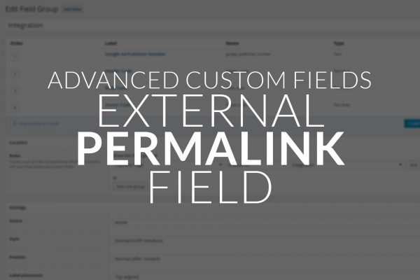 Advanced Custom Fields – External Permalink Field